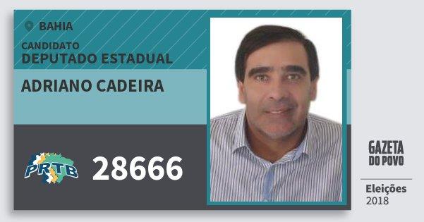Santinho Adriano Cadeira 28666 (PRTB) Deputado Estadual | Bahia | Eleições 2018