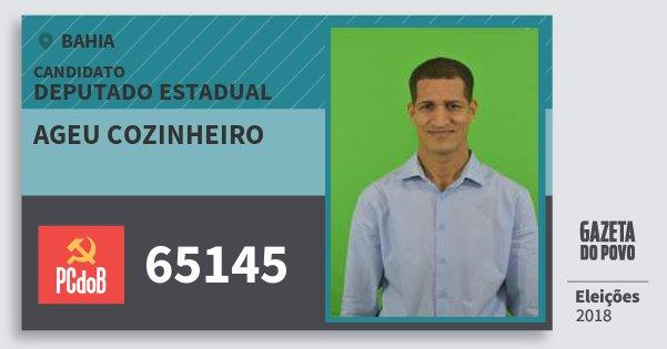 Santinho Ageu Cozinheiro 65145 (PC do B) Deputado Estadual | Bahia | Eleições 2018