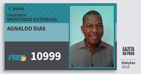 Santinho Agnaldo Dias 10999 (PRB) Deputado Estadual | Bahia | Eleições 2018