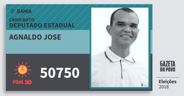 Santinho Agnaldo Jose 50750 (PSOL) Deputado Estadual | Bahia | Eleições 2018