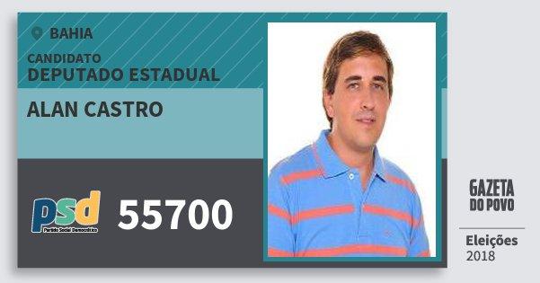 Santinho Alan Castro 55700 (PSD) Deputado Estadual | Bahia | Eleições 2018
