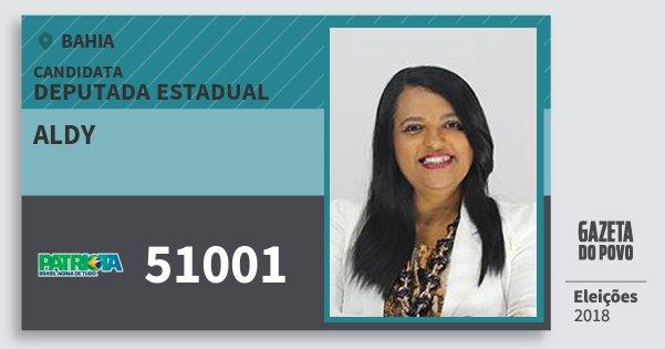 Santinho Aldy 51001 (PATRI) Deputada Estadual | Bahia | Eleições 2018