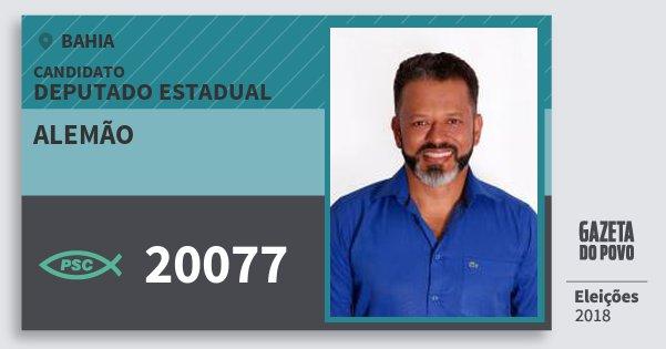 Santinho Alemão 20077 (PSC) Deputado Estadual | Bahia | Eleições 2018
