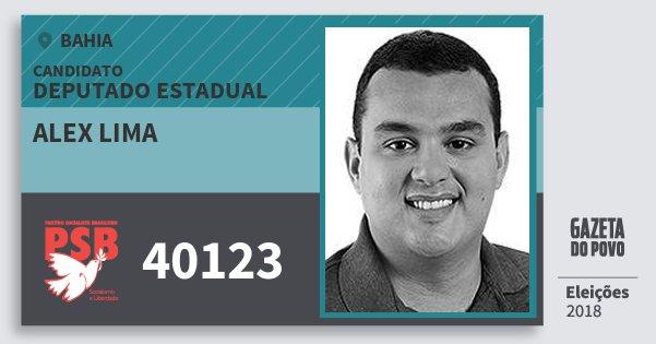 Santinho Alex Lima 40123 (PSB) Deputado Estadual | Bahia | Eleições 2018