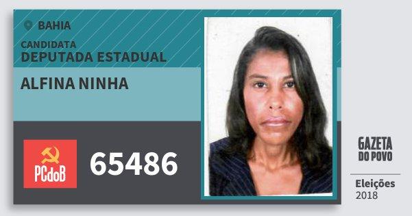 Santinho Alfina Ninha 65486 (PC do B) Deputada Estadual | Bahia | Eleições 2018
