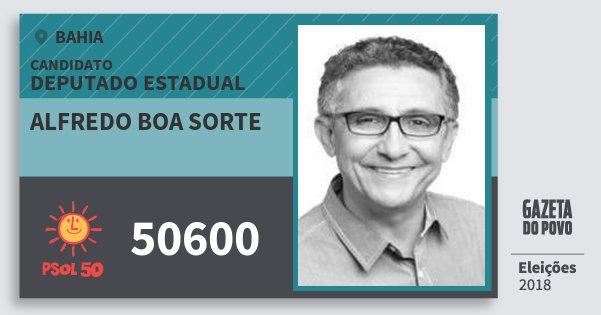 Santinho Alfredo Boa Sorte 50600 (PSOL) Deputado Estadual | Bahia | Eleições 2018
