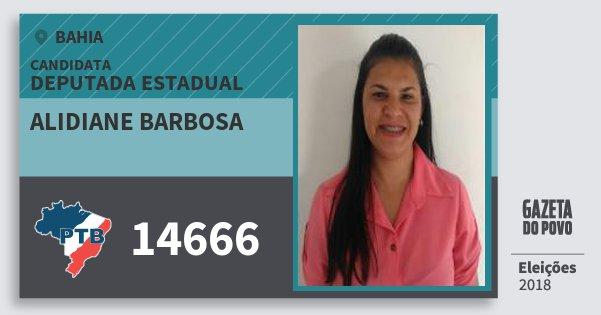 Santinho Alidiane Barbosa 14666 (PTB) Deputada Estadual | Bahia | Eleições 2018