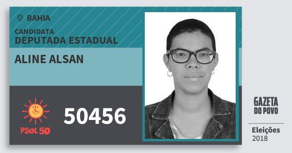 Santinho Aline Alsan 50456 (PSOL) Deputada Estadual | Bahia | Eleições 2018