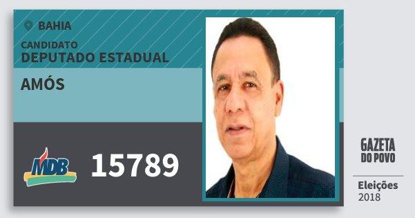 Santinho Amós 15789 (MDB) Deputado Estadual | Bahia | Eleições 2018
