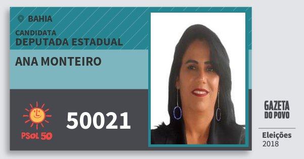 Santinho Ana Monteiro 50021 (PSOL) Deputada Estadual | Bahia | Eleições 2018