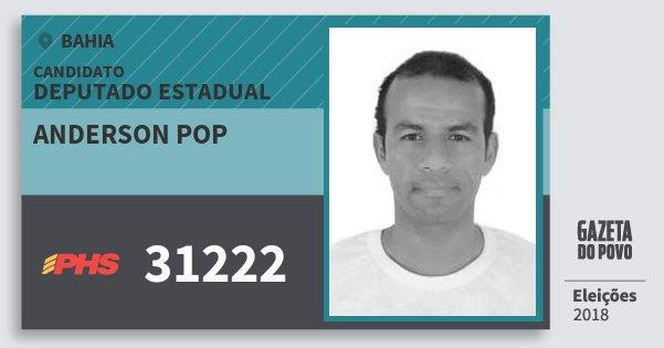 Santinho Anderson Pop 31222 (PHS) Deputado Estadual | Bahia | Eleições 2018