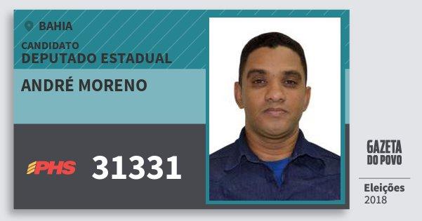 Santinho André Moreno 31331 (PHS) Deputado Estadual | Bahia | Eleições 2018