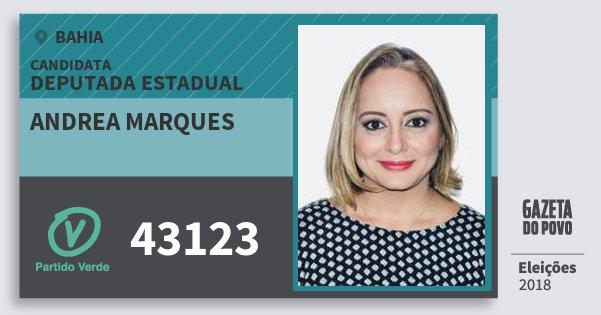 Santinho Andrea Marques 43123 (PV) Deputada Estadual | Bahia | Eleições 2018