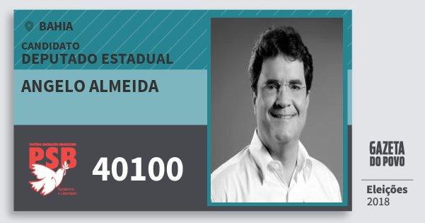 Santinho Angelo Almeida 40100 (PSB) Deputado Estadual | Bahia | Eleições 2018