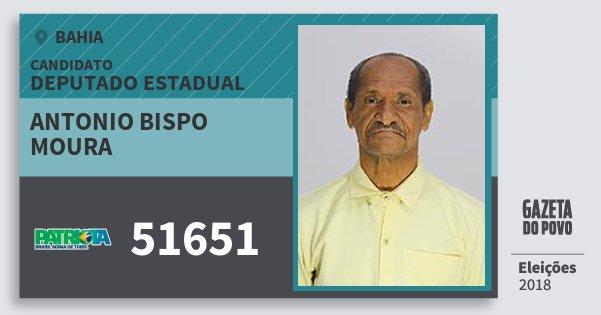 Santinho Antonio Bispo Moura 51651 (PATRI) Deputado Estadual | Bahia | Eleições 2018