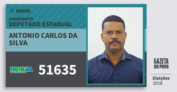 Santinho Antonio Carlos da Silva 51635 (PATRI) Deputado Estadual | Bahia | Eleições 2018
