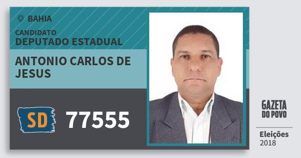 Santinho Antonio Carlos de Jesus 77555 (SOLIDARIEDADE) Deputado Estadual | Bahia | Eleições 2018