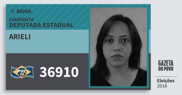 Santinho Arieli 36910 (PTC) Deputada Estadual | Bahia | Eleições 2018