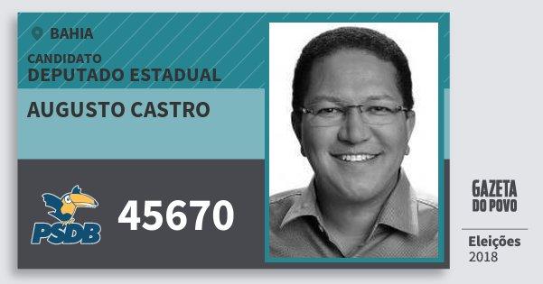 Santinho Augusto Castro 45670 (PSDB) Deputado Estadual | Bahia | Eleições 2018