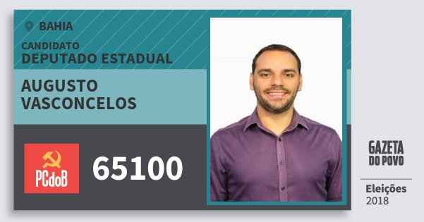 Santinho Augusto Vasconcelos 65100 (PC do B) Deputado Estadual | Bahia | Eleições 2018