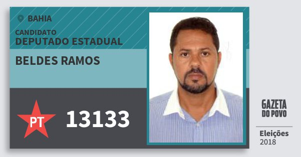 Santinho Beldes Ramos 13133 (PT) Deputado Estadual | Bahia | Eleições 2018