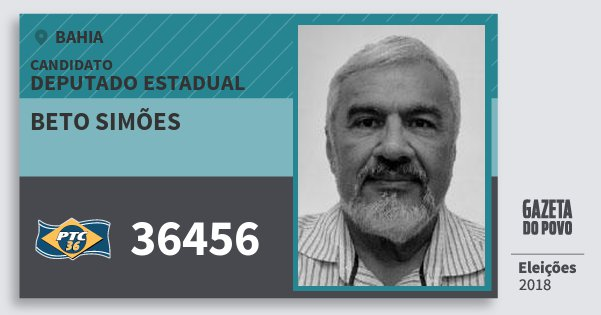 Santinho Beto Simões 36456 (PTC) Deputado Estadual | Bahia | Eleições 2018