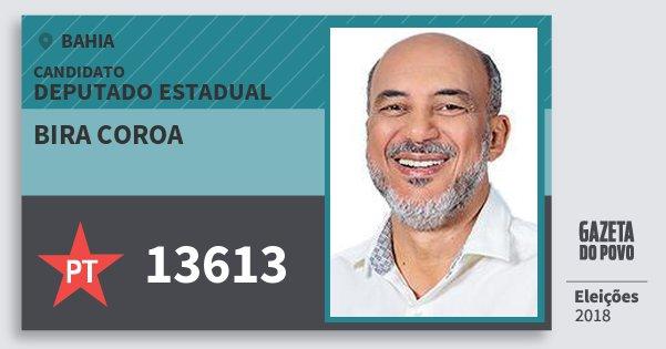Santinho Bira Coroa 13613 (PT) Deputado Estadual | Bahia | Eleições 2018