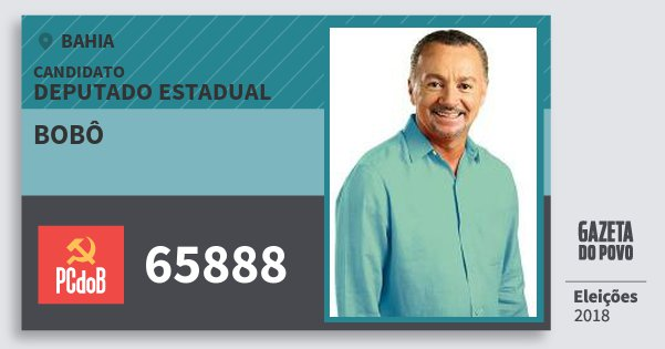 Santinho Bobô 65888 (PC do B) Deputado Estadual | Bahia | Eleições 2018