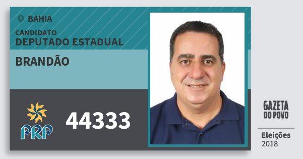 Santinho Brandão 44333 (PRP) Deputado Estadual | Bahia | Eleições 2018