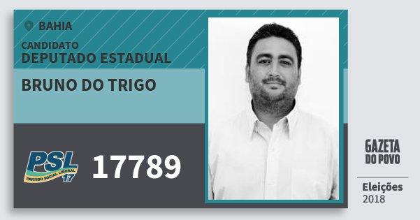 Santinho Bruno do Trigo 17789 (PSL) Deputado Estadual | Bahia | Eleições 2018
