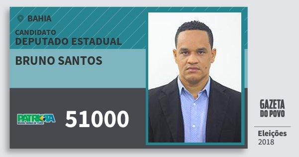 Santinho Bruno Santos 51000 (PATRI) Deputado Estadual | Bahia | Eleições 2018