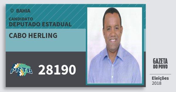 Santinho Cabo Herling 28190 (PRTB) Deputado Estadual | Bahia | Eleições 2018