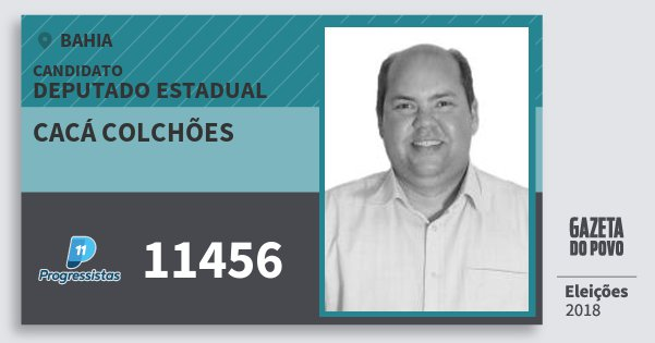 Santinho Cacá Colchões 11456 (PP) Deputado Estadual | Bahia | Eleições 2018
