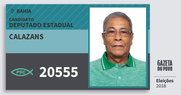 Santinho Calazans 20555 (PSC) Deputado Estadual | Bahia | Eleições 2018