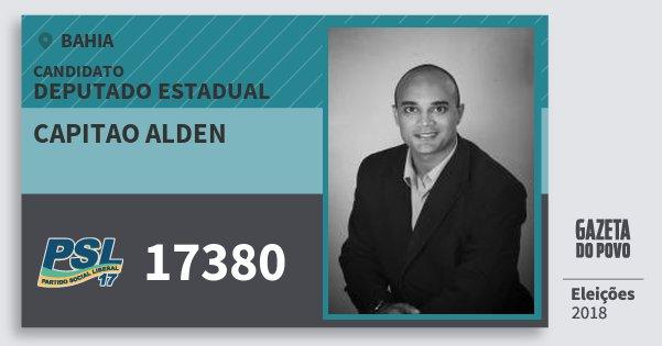 Santinho Capitao Alden 17380 (PSL) Deputado Estadual | Bahia | Eleições 2018