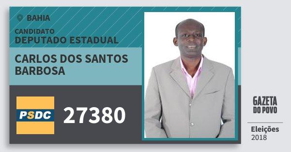 Santinho Carlos dos Santos Barbosa 27380 (DC) Deputado Estadual | Bahia | Eleições 2018