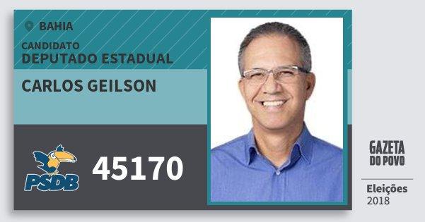 Santinho Carlos Geilson 45170 (PSDB) Deputado Estadual | Bahia | Eleições 2018