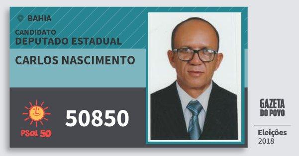 Santinho Carlos Nascimento 50850 (PSOL) Deputado Estadual | Bahia | Eleições 2018