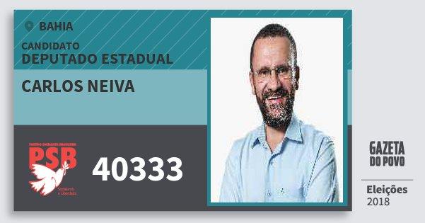 Santinho Carlos Neiva 40333 (PSB) Deputado Estadual | Bahia | Eleições 2018