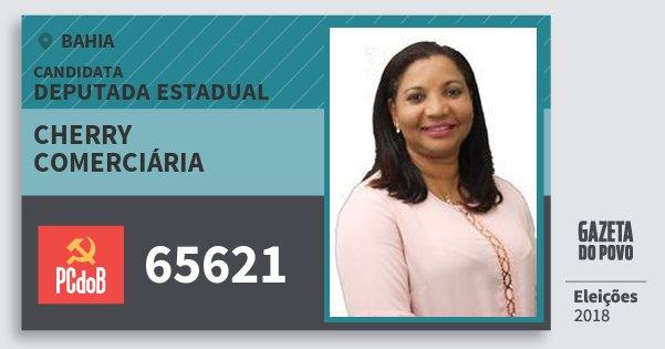 Santinho Cherry Comerciária 65621 (PC do B) Deputada Estadual | Bahia | Eleições 2018