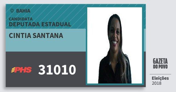 Santinho Cintia Santana 31010 (PHS) Deputada Estadual | Bahia | Eleições 2018