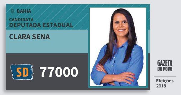Santinho Clara Sena 77000 (SOLIDARIEDADE) Deputada Estadual | Bahia | Eleições 2018