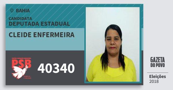 Santinho Cleide Enfermeira 40340 (PSB) Deputada Estadual | Bahia | Eleições 2018