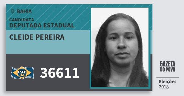 Santinho Cleide Pereira 36611 (PTC) Deputada Estadual | Bahia | Eleições 2018