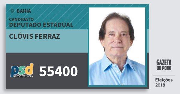 Santinho Clóvis Ferraz 55400 (PSD) Deputado Estadual | Bahia | Eleições 2018