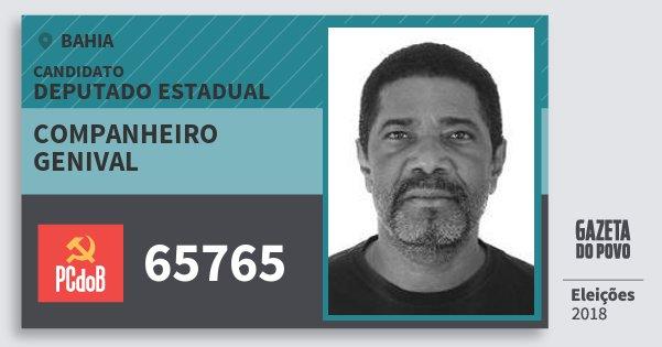 Santinho Companheiro Genival 65765 (PC do B) Deputado Estadual | Bahia | Eleições 2018