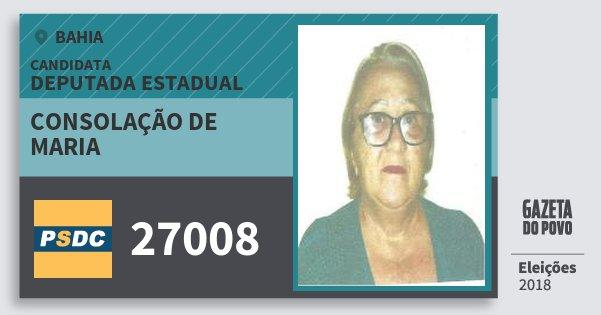 Santinho Consolação de Maria 27008 (DC) Deputada Estadual | Bahia | Eleições 2018
