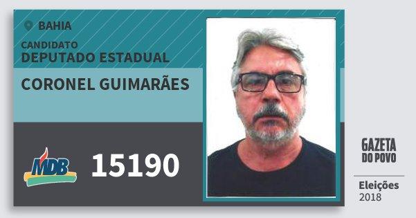 Santinho Coronel Guimarães 15190 (MDB) Deputado Estadual | Bahia | Eleições 2018