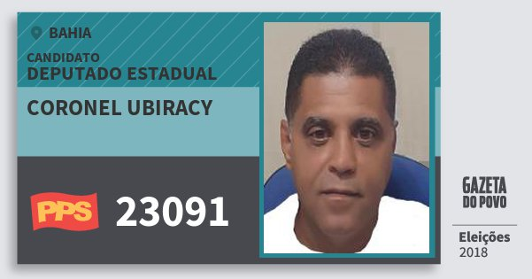 Santinho Coronel Ubiracy 23091 (PPS) Deputado Estadual | Bahia | Eleições 2018