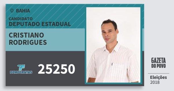 Santinho Cristiano Rodrigues 25250 (DEM) Deputado Estadual | Bahia | Eleições 2018